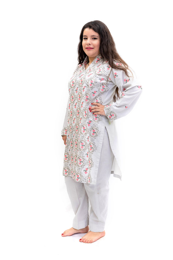 Grey Cotton Embroidered Salwar Kameez - South Asian Fashion