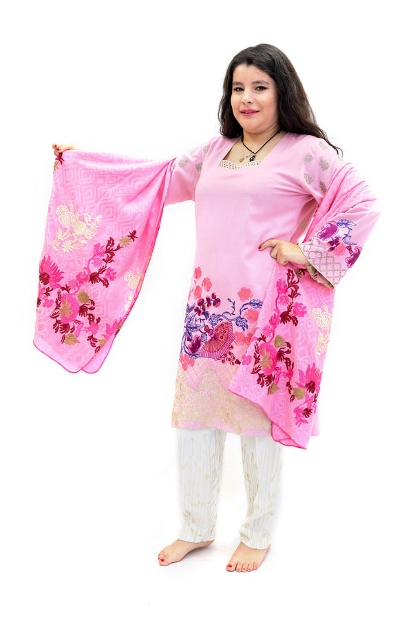 Pink Cotton Embroidered Salawar Kameez - Suit - South Asian Fashion