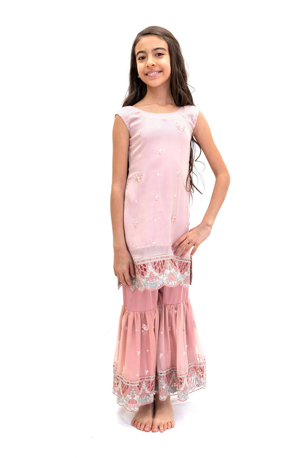 Pink Girls Net Salwar Kameez -Suit