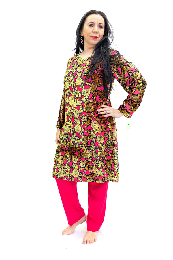 Pink Velvet Salwar Kameez - Suit - South Asian Fashion
