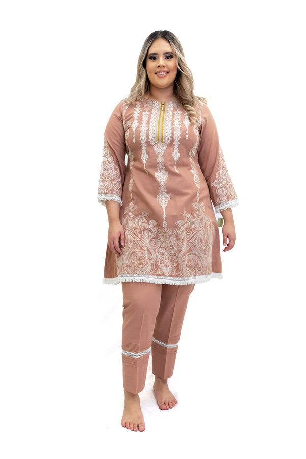 Mauve Pink Cotton Salwar Kameez - Suit - South Asian Fashion