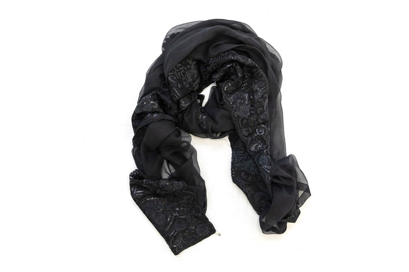 Black Sequin Chiffon Dupatta - Scarf - South Asian Outerwear