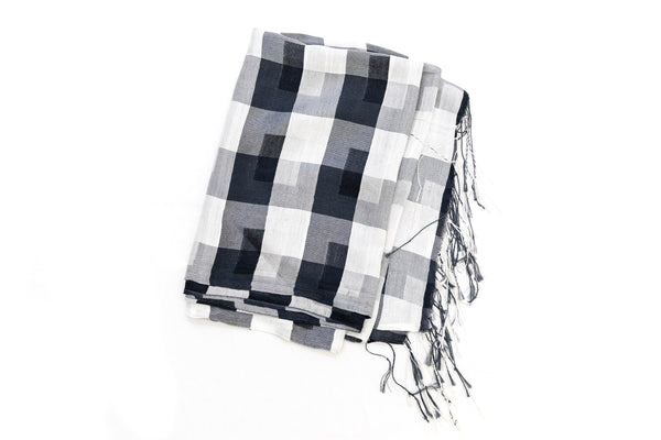 Black & White Cotton - Shawl - South Asian Accessories & Outerwear