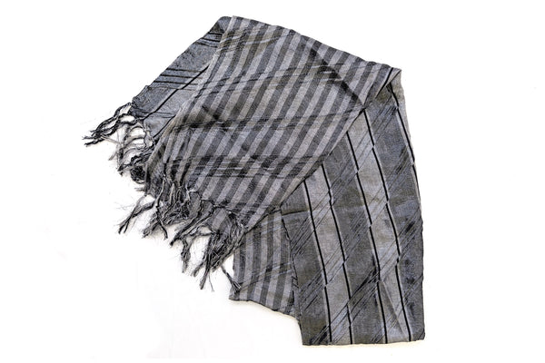 Grey Stripped Chiffon Dupatta - South Asian Accessories & Outerwear