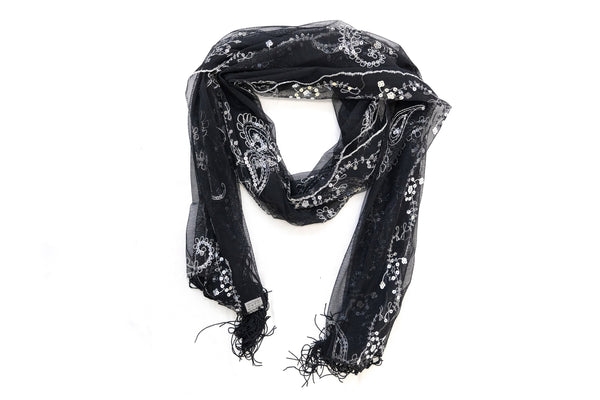 Black & White Embroidered Dupatta - Scarf- South Asian Accessories