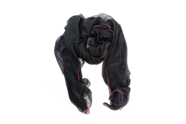 Black & Pink Chiffon Dupatta - Scarf - South Asian Outerwear