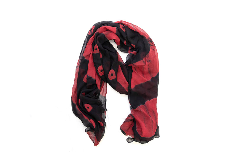 Red and Black Chiffon Dupatta - Scarf- South Asian Accessories & Outerwear