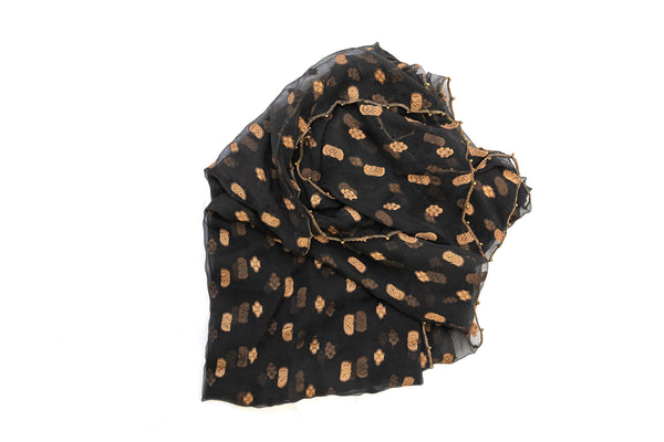 Black & Gold Chiffon Dupatta - Scarf - South Asian Outerwear