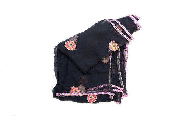 Black & Pink Floral Chiffon Dupatta - Scarf - South Asian Outerwear