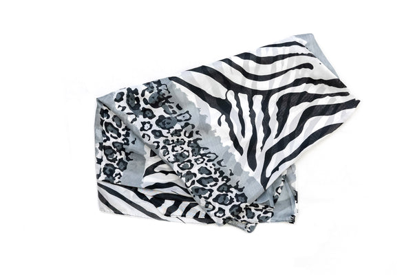 Black & White Animal Print Chiffon - Scarf - South Asian Accessories