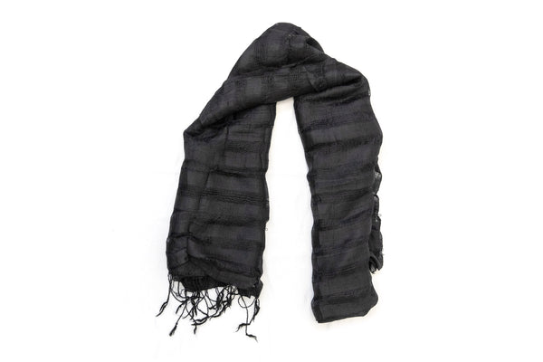 Black Striped Cotton Dupatta - Scarf - South Asian Accessories & Outerwear