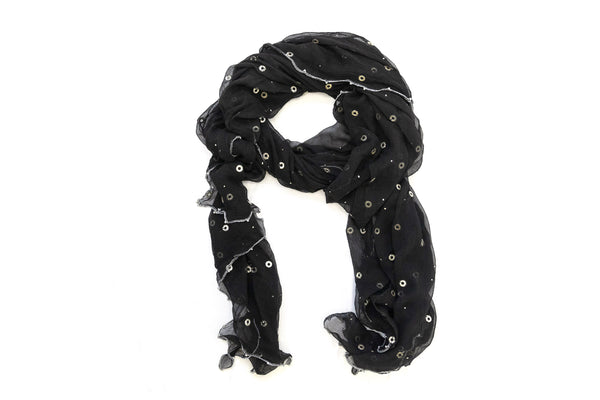 Black & Silver Dupatta - Scarf- South Asian Accessories & Outerwear