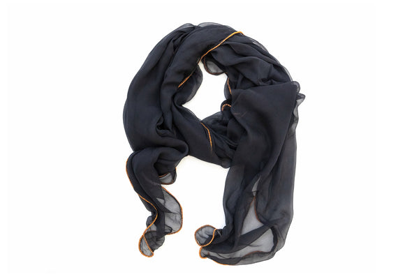 Black Chiffon & Gold Trim Dupatta - Scarf- South Asian Outerwear