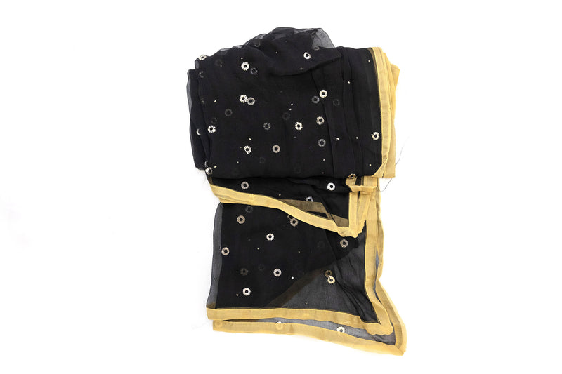 Black & Gold Sequin Chiffon Dupatta - Scarf - South Asian Outerwear