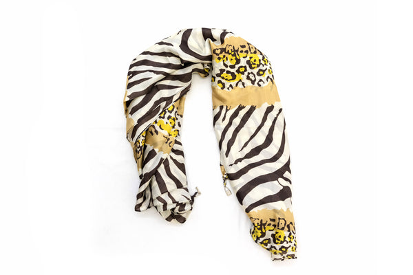 Yellow Animal Print Chiffon Dupatta - Scarf - South Asian Outerwear