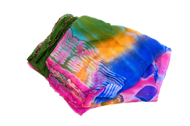 Fun and Colorful Chiffon Dupatta - Scarf - South Asian Accessories & Outerwear