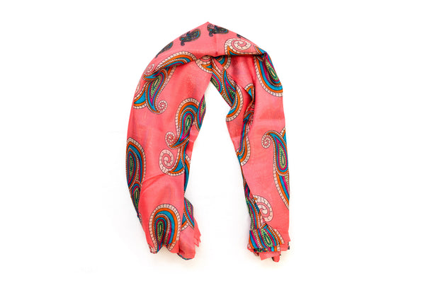 Coral Patterned Chiffon Dupatta - Scarf- South Asian Accessories & Outerwear