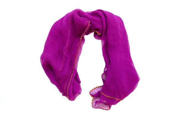 Fuchsia Chiffon Dupatta - Scarf - South Asian Accessories & Outerwear