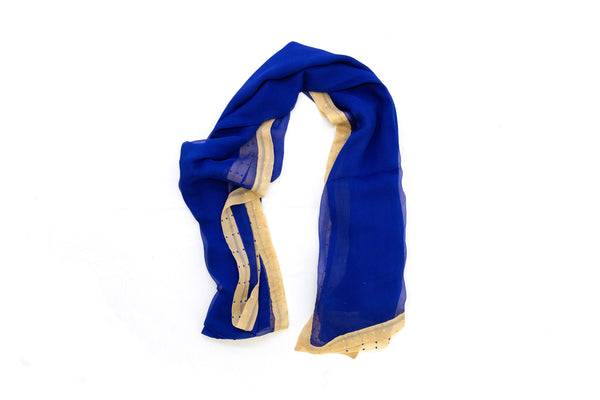 Blue & Beige Chiffon Dupatta - Scarf - South Asian Scarves & Shawls