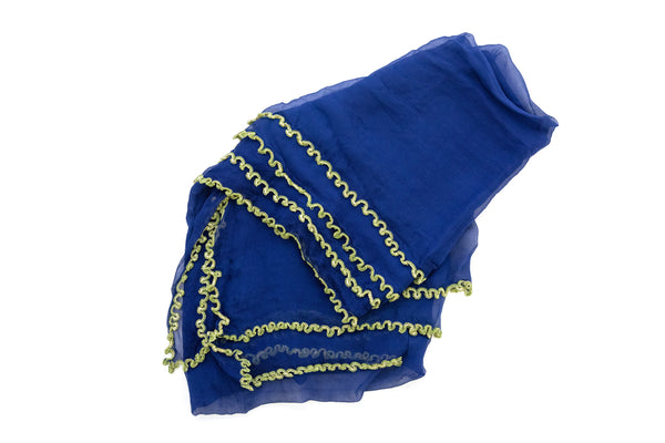 Blue Chiffon & Neon Green Trim Dupatta - Scarf - South Asian Outerwear