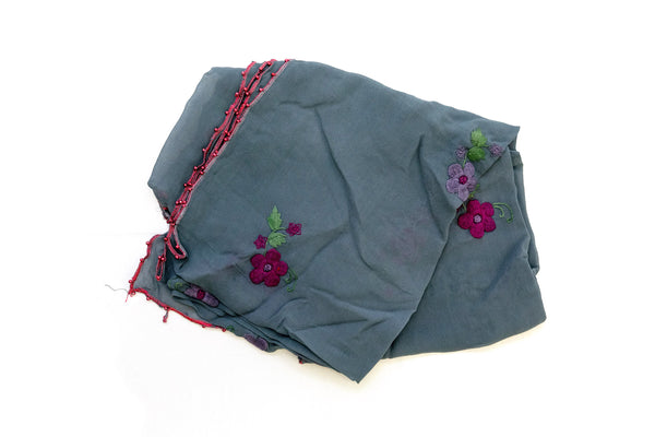 Grey Chiffon Dupatta with Floral Design - Scarf - South Asian Accessories & Outerwear