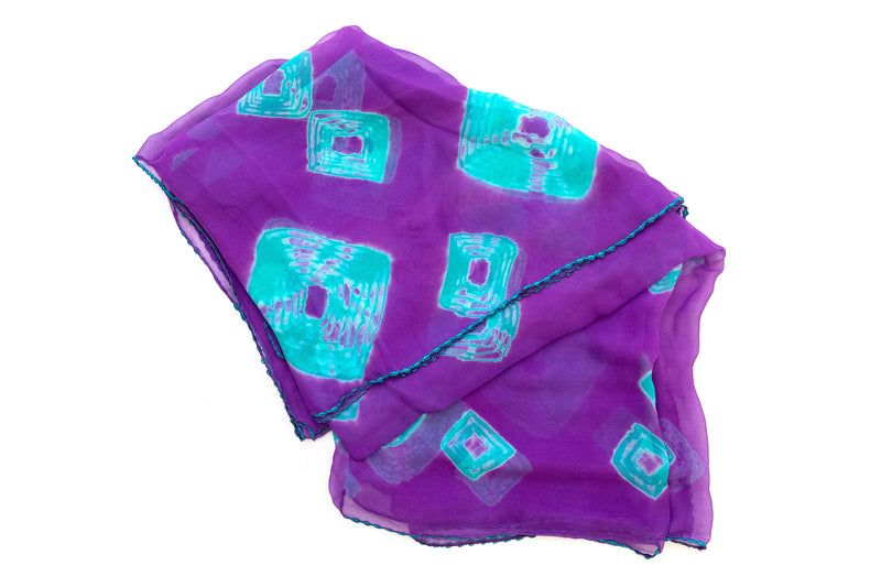 Purple and Blue Chiffon Dupatta - Scarf - South Asian Accessories & Outerwear