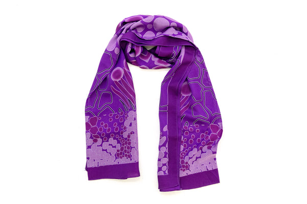 Purple Patterned Chiffon Dupatta - Scarf - South Asian Accessories & Outerwear