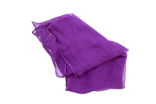 Purple Chiffon Dupatta - Scarf- South Asian Accessories & Outerwear