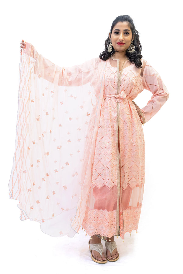 Apricot Cotton Salwar Kameez - Asim Jofa Suit - South Asian Fashion
