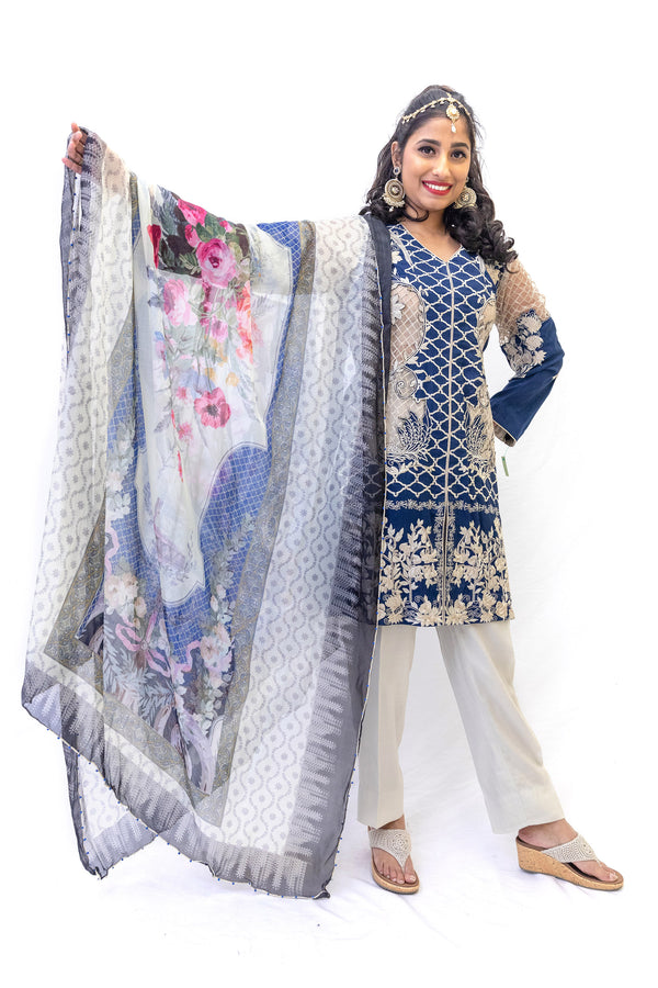 Blue Cotton Salwar Kameez - Erum Khan Suit - South Asian Fashion