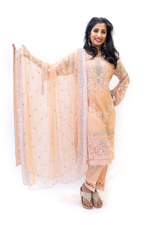 Peach Chiffon Salwar Kameez - Suit - South Asian Formal Wear