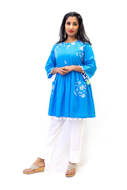Blue Cotton Embroidered Shirt - Casual Ethnic Wear