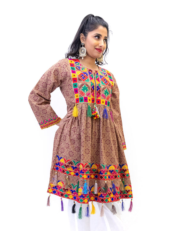 Brown Cotton Print Shirt - Vibrant Embroidery - Casual South Fashion