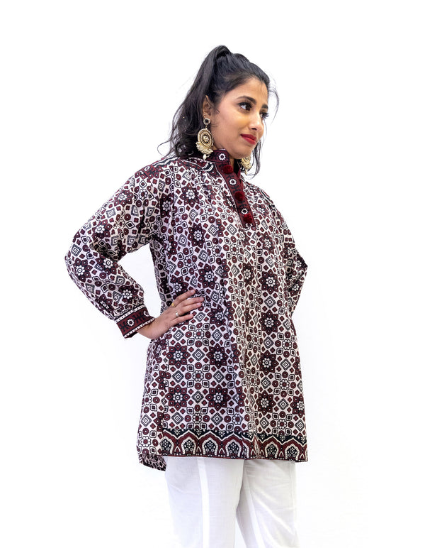 Maroon & White Cotton Kurti - South Asian Women's Shirt