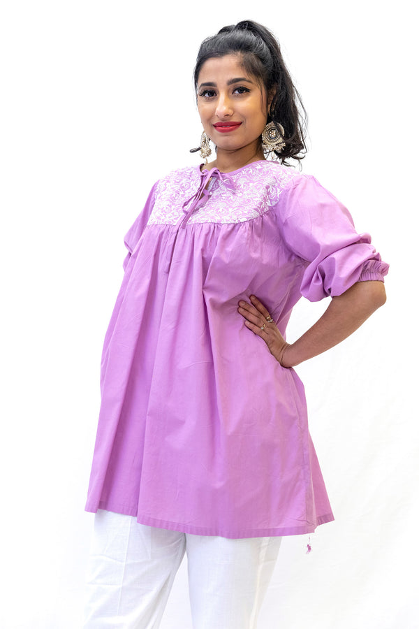 Lavander Cotton Kurti - Shirt - South Asian Casual Wear