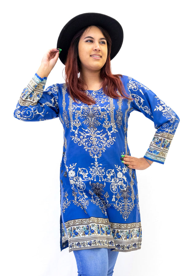 elegant white and tan print designs cover this lightweight royal blue cotton lawn shirt. Blue Cotton Print Kurti - Shirt - Women's South Asian Casual Wear