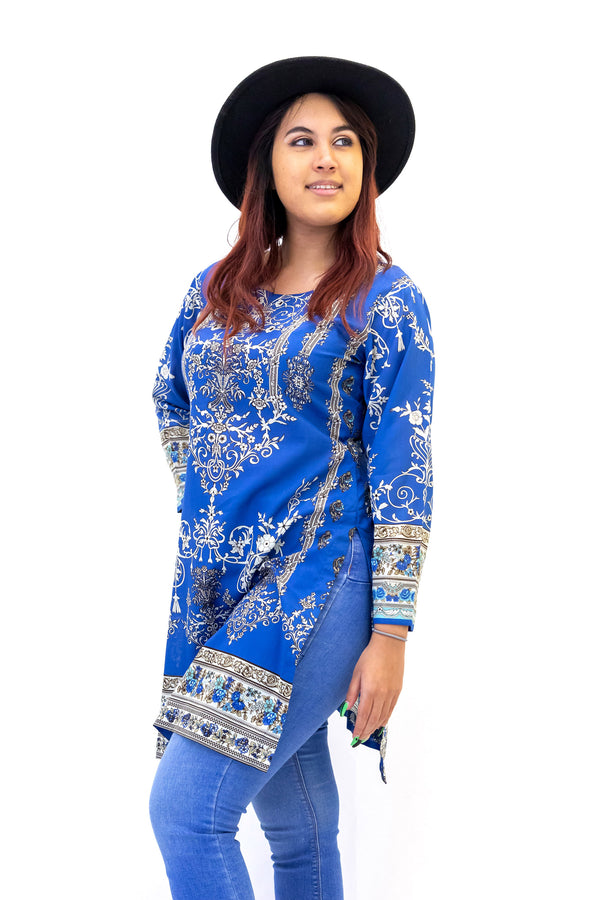 Blue Cotton Print Kurti - Shirt - Women's South Asian Casual Wear