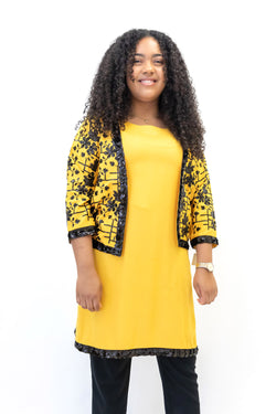 Black & Yellow Cotton Sequin Two-Piece - Traditional Fashion and Home Decor