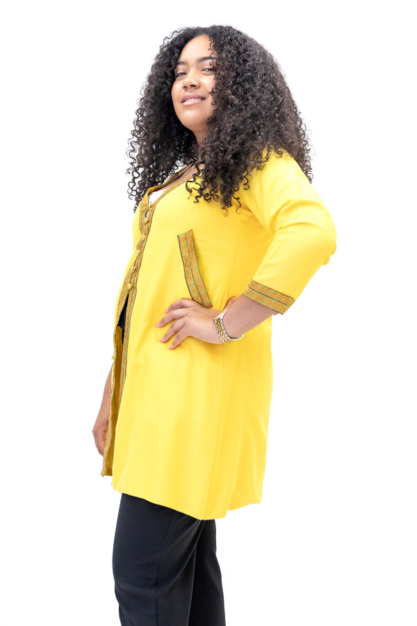 Yellow Cotton Embroidered Coat - South Asian Outerwear