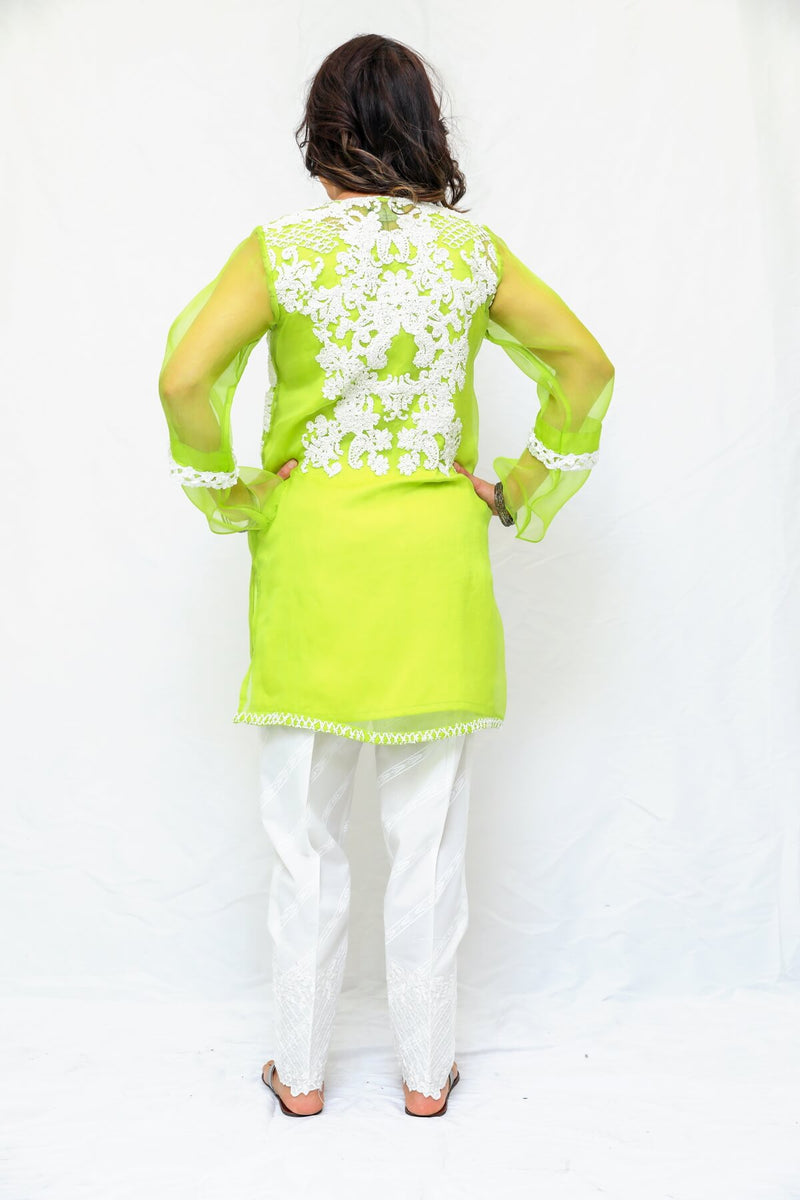 Organza Women Shirt Kurti-Kameez. Delicate machine work in the front and back of the shirt