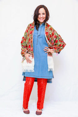 Indian Pakistani Kashmir Embroidery Shawl- Trendz & Traditionz Boutique
