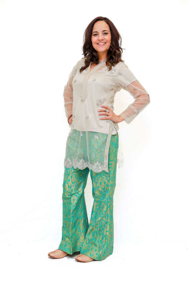 Embroidered Net Shirt Kurti -Trendz & Traditionz Boutique