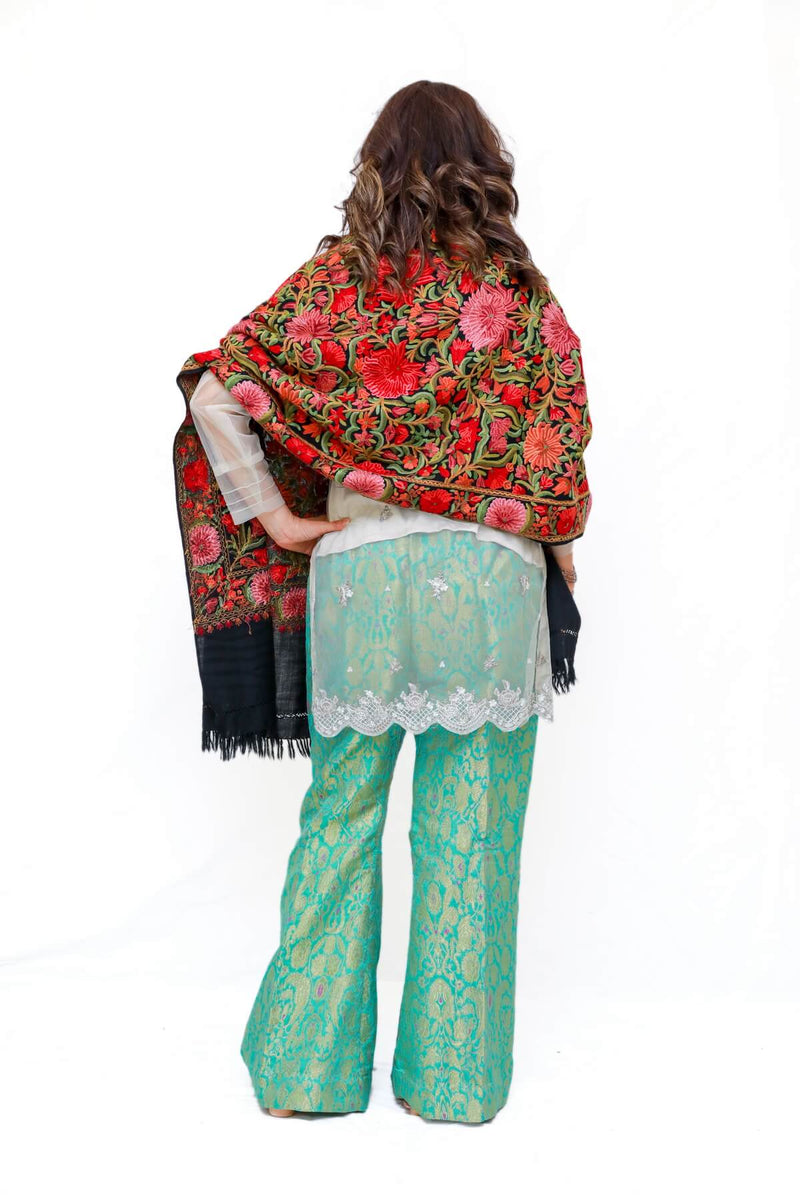 Women Kashmir Pashmina Hand Embroidered Shawl - Trendz & Traditionz Boutique