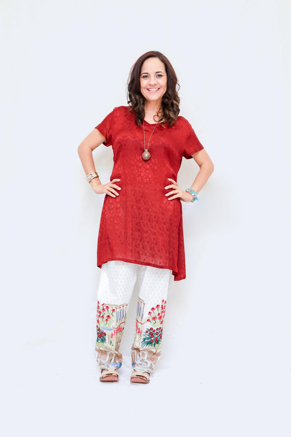 Silk Shirt Kurti- Cotton Embroidered Pant- Trendz & Traditionz Boutique