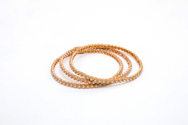 Indian-Bollywood bracelets/bangles made with pearls. Gold plated Set of 3