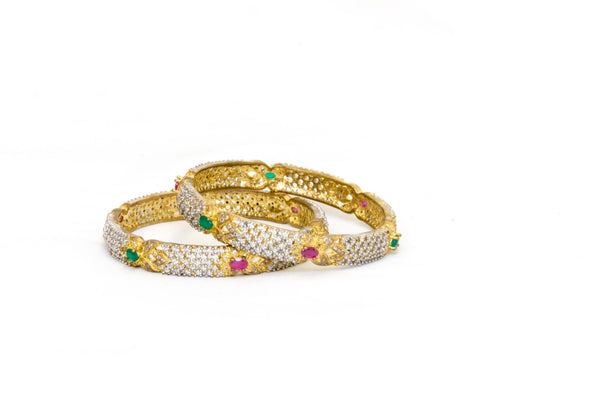 Indian Bracelet Bangles Red/Green Stones-Trendz & Traditionz Boutique