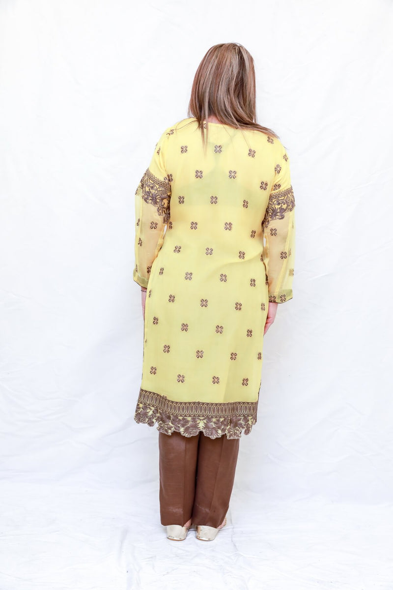 Indian Pakistani Yellow Chiffon Suit- Trendz & Traditionz Boutique