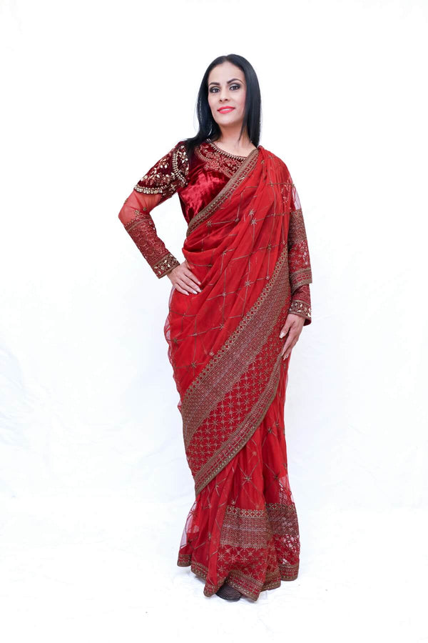 Pakistani Net Sari (Saree) with Velvet Blouse - Trendz & Traditionz Boutique