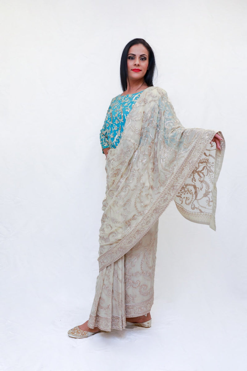 Pakistani Chiffon Sari (Saree) Machine Embroidery- Trendz & Traditionz Boutique