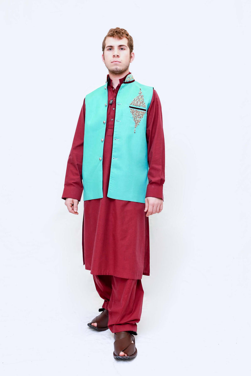 Men Blue Vest and Red Cotton Suit - Trendz & Traditionz Boutique